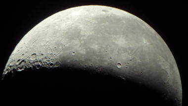 "Picture of the Moon taken with a 6"" Orion Dobsonian SkyQuest Telescope"